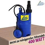 Tauchpumpe-f-REGENTONNE-REGENFASS-Regenfasspumpe-Klarwasserpumpe-Regentonnenpumpe-Regenwasserpumpe-400Watt-max-Frderhhe-7m-max-5800lh-FASSPUMPE-REGEN-STAR-SUPER-400-Pumpe-mit-10m-Kabel-internem-FILTER