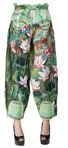 AvaCostume Women's Drawstring Pantaloons Bloomers Loose Pants, Greenflower