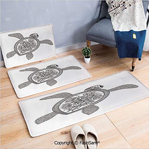 FashSam 3 Piece Flannel Bath Carpet Non Slip