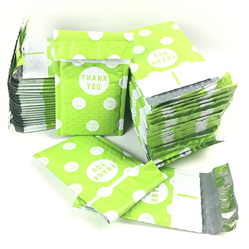 Sarira C 4x8 Inch Thank You Pattern Bubble Mailers Poly Padded Envelope Mailers 50 Pack (4x8, Green)