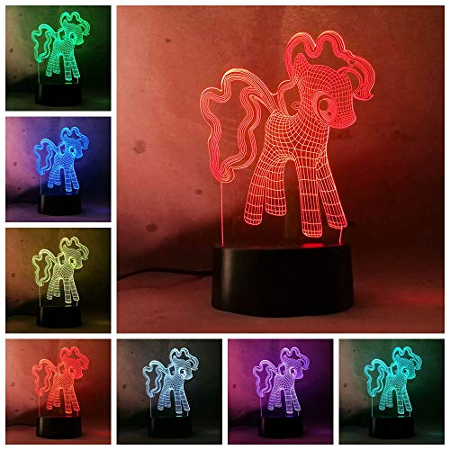 Adorable Christmas Gifts My Little Pony Happy Friend Figures 7 Color 3D Night Light Bedroom Child Baby Cafe Mall Deco -