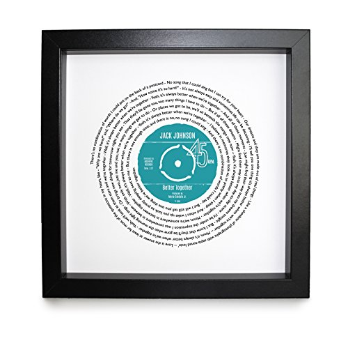 Jack Johnson Better Together Personalised Song - Vinyl Record Print of First Dance or Anniversary Song - fully framed BLACK box 9.5 inch frame