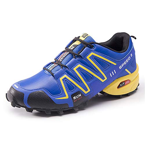 Super frist Men Hiking Shoes Lightweight Breathable Non Slip Sneaker Outdoor Trail Running Trekking(Royal Blue & 45/10.5 D(M) US Men)