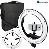 LimoStudio 18 Inch Round Ring Light, Dimmable Continuous Lighting Kit, 5500K, Best for Beauty Facial Shoot, Cell Phone Spring Clip Holder, 360 Degree Swivel Mini Ball Head Camera Adapter, AGG2030