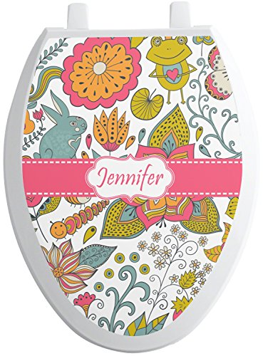 RNK Shops Wild Garden Toilet Seat Decal - Elongated (Personalized) -