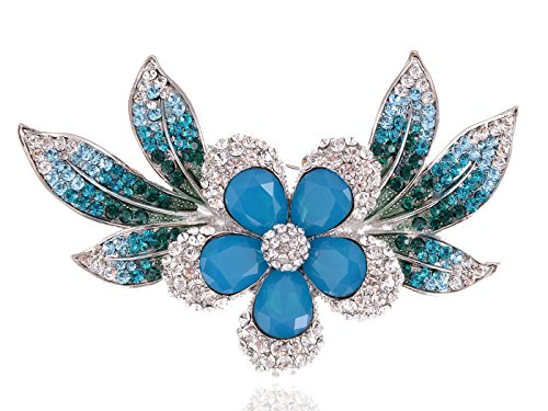 Tropical Flower Rhinestone - Alilang Womens Silvery Tone Blue Green Rhinestones Tropical Hawaiian Flower Brooch Pin