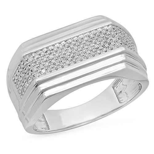 0.33 Carat (ctw) 10k White Gold Round White Diamond Men's Hip Hop Micro Pave Wedding Anniversary Band by DazzlingRock Collection