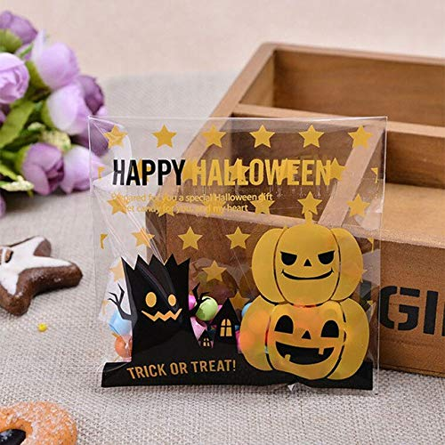 Sala-Houseware - 100 Pcs Creative Happy Halloween Cookie Candy Bread Packaging bBags Self-Adhesive Plastic Bags For Biscuits Snack Baking Package