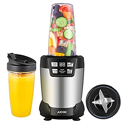 Aicok Blender, Smoothie Blender, 1200 Watt Professional Blender, Coffee Grinder and Food Processor, Personal Blender with Smart Operation, Multifunction Mixer Kitchen System with Tritan Travel Cups
