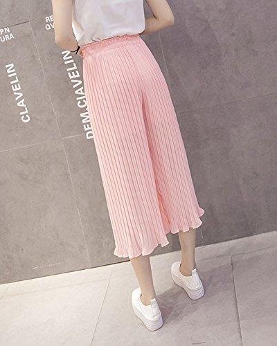 Mujeres Ancho Pierna Palazzo Pantalones Cintura Elástica Holgados Flojos Suave Casual 3/4 Pantalones Pink