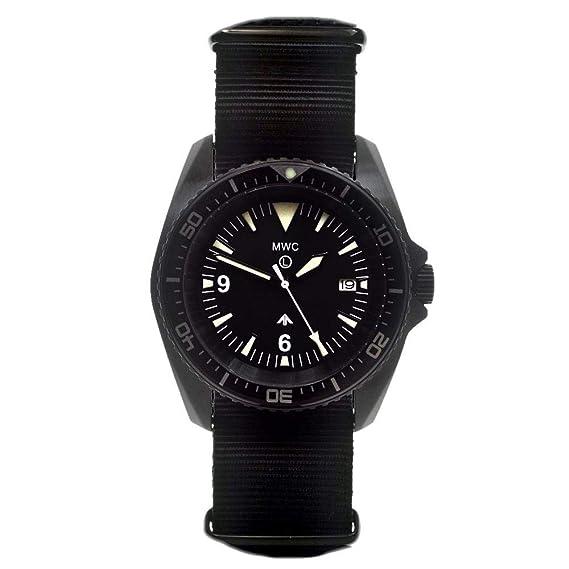 24 Jewels MCA 300 m 316L PVD negro Military automático submarinista acero inoxidable para hombre reloj