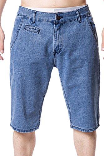 Zonsaoja Los Hombres Basic Jeans Short Denim Pantalones Casuales Mid Rise con Bolsillo Azul Claro