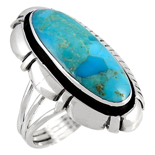 - Turquoise Ring in Sterling Silver 925 & Genuine Turquoise Size 6 to 11 (10)