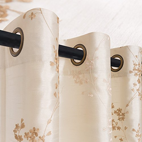 Faux Silk Floral Embroidered Sheer Curtains for Bedroom Embroidery Curtain for Living Room 84 inch Length, 2 Panels, Ivory