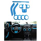 E-cowlboy Full Set Interior Decoration Trim Kit For Jeep Wrangler 2011-2016 2-door (Light Blue)