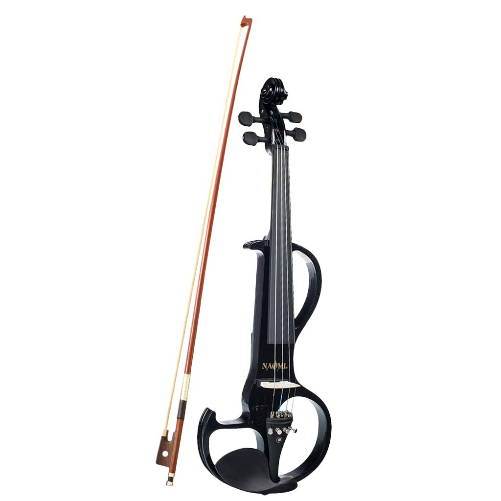 1 Set 4/4 Solid Wood Electric/Silent Violin with Ebony Fittings - Full Size - Black