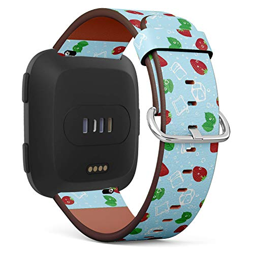 Compatible with Fitbit Versa - Quick-Release Leather Band Bracelet Strap Wristband Replacement - Strawberry Mojito -
