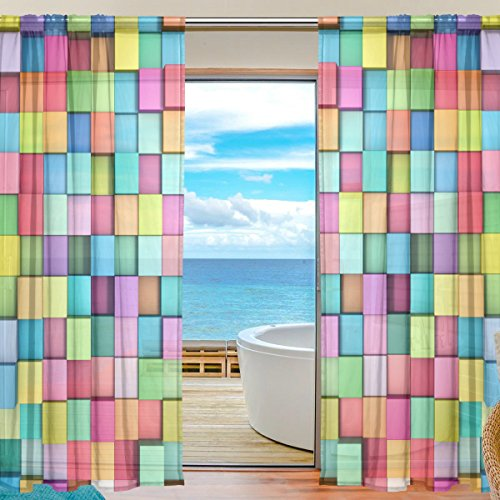 (Blue Viper Abstract 3D Multi-Colored Cubes Sheer Window Curtains Voile Treatment Panels Rod Pocket Personalized Home Decor for Living Room Bedroom, 2-Piece 55 x 84 inch)