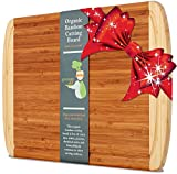 ♻ KING SIZE Organic Bamboo Cutting Board w/ LIFETIME REPLACEMENT WARRANTY - Best Extra Large Wood Chopping Board with Groove For Knives! Perfect Small Kitchen Appliance For Wedding & Housewarming Gift