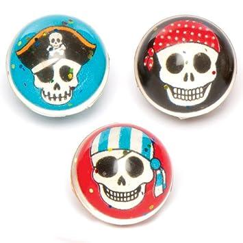 Baker Ross- Pelotas de Goma de Piratas con Purpurina (Pack de 6) -Bolsas de cotillón para niños