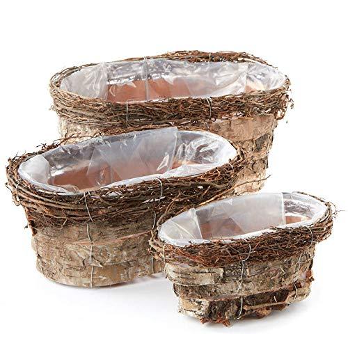- Factory Direct Craft Rustic Birch Bark Planter Box Set   3 Pieces