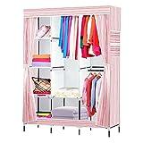 NEX Wardrobe DIY Clothes Storge Cabinet Portable Tool Organizer Bedroom Closet Doll Collection(Pink)