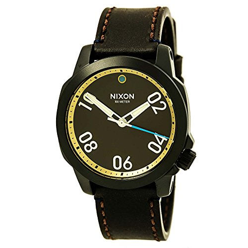 Nixon-Ranger-40-Leather-All-Black-Brass-Brown-Stainless-Steel-Analog-Watch