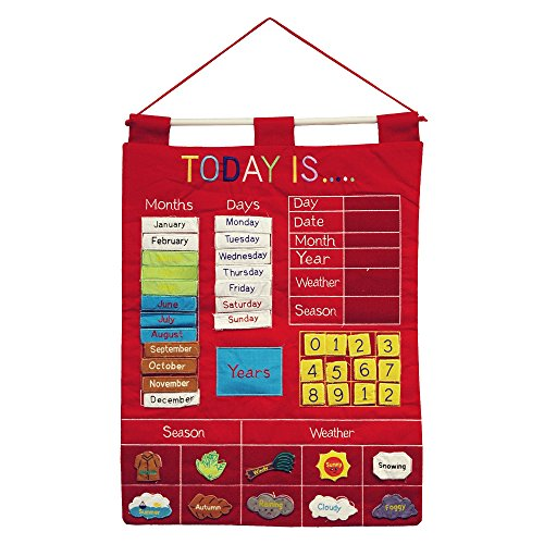 Today Is Children's Calendar Wall Chart by Alma's Design - Red Childrens Developmental Toys