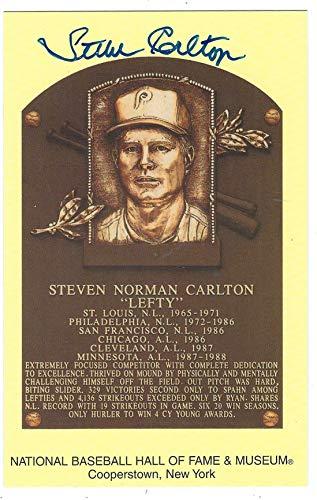 Autographed Steve Carlton Hall Of Fame Gold Plaque ()