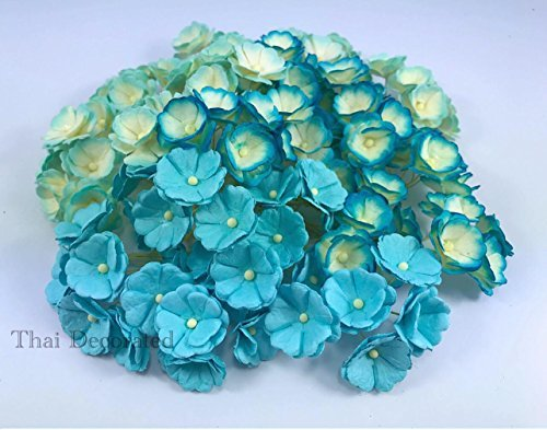 (100 pcs. Blossom Flower Blue Tone Mulberry Paper Flower 20-25 mm Scrapbooking Wedding Doll House Supplies Card by' Thai Decorated)