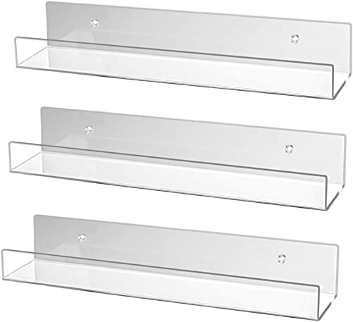 Sanasic Set of 3 Acrylic Floating Wall Shelves, Display Ledges Storage Organizer for Bedroom Bathroom Kitchen Office, 16.5 L x 4 D x 3 H