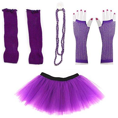 Mystiqueshapes 80s Fancy Costume Set - TUTU & LEG WARMERS & FISHNET GLOVES & BEADS (Purple)