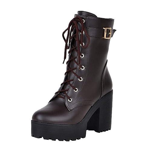 sitio de buena reputación 81dda f9086 Zapatos con Cordones Mujer Botas Plisadas Botas Efecto Arrugado para Mujer  Botines De Cuero Hebilla de Las Mujeres Martin Shoes Botas de Mujer Botas  ...
