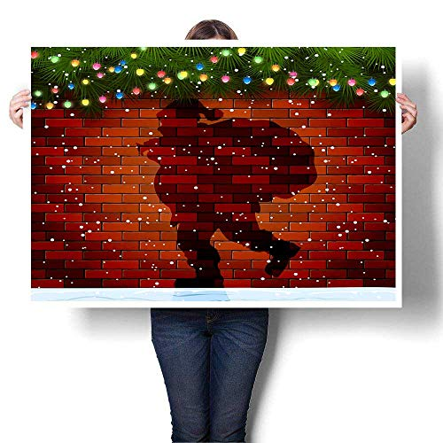 Christmas Background with Shadow of Santa fir Tree Branches and Light Bulbs on a Brick Wall illustrationpainting canvaspainting crafts24