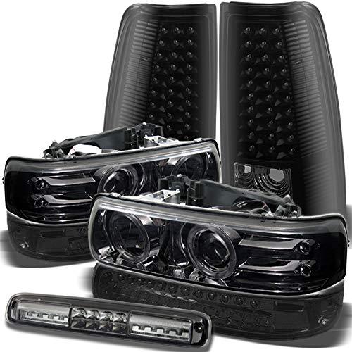 Xtune for 1999-2002 Chevy Silverado Smoke Halo Projector Headlights + Black Smoke LED Tail Lights + Smoked LED 3rd Brake Lamp