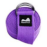 REEHUT Yoga Strap (6ft) - Durable Polyester Cotton Exercise Straps...
