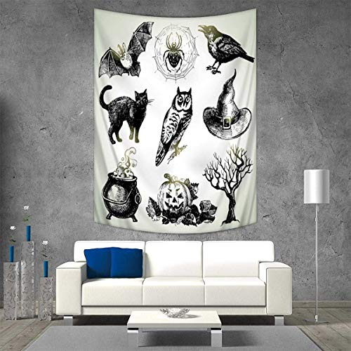 Anhuthree Vintage Halloween Tapestry Table Cover Bedspread Beach Towel Halloween Related Pictures Drawn by Hand Raven Owl Spider Black Cat Dorm Decor 54W x 72L INCH Black White for $<!--$39.80-->