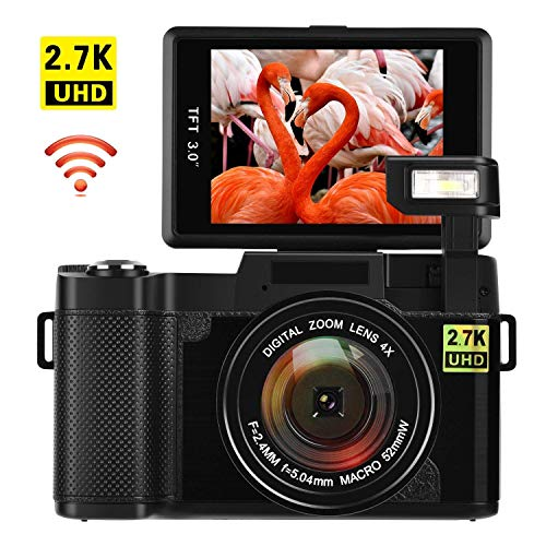 Vlogging Camera Digital Camera 24MP Ultra HD 2.7K WiFi YouTube Camera 3.0 Inch 180 Degree Rotation Flip Screen Camera Retractrable Flashlight