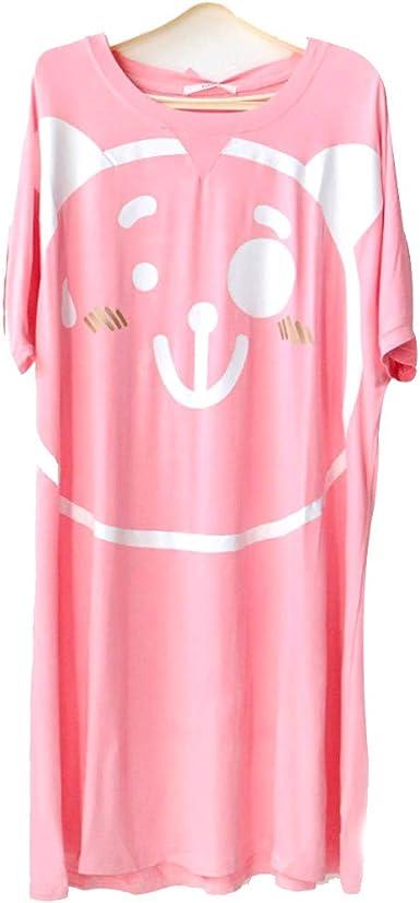 Camisón Camisa de Dormir de Manga Corta de algodón de Talla Grande para Mujer, Rosado, 4XL: Amazon.es: Ropa y accesorios