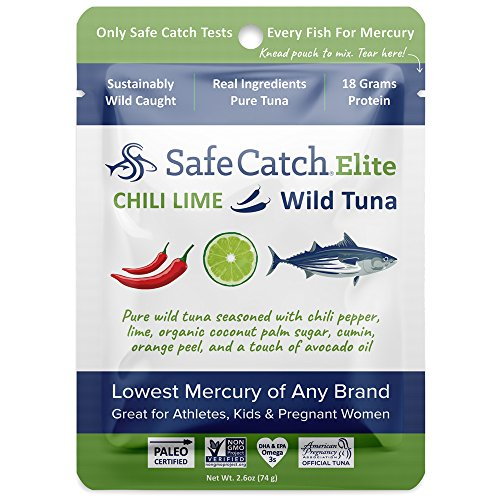 Safe Catch Seasoned Elite, Lowest Mercury Solid Chili Lime Wild Tuna Steak, 2.6 oz pouch (Pack of 12)
