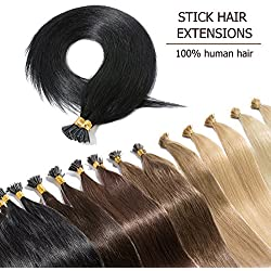 "100 Strands I Tip Hair Extensions Human Hair Natural Off Black 22 Inch Soft Straight Remy Hair Pre Bonded Stick Shoelace Tips—22"", 1B, 50g"