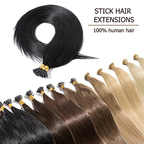 """Off 16' Strand - 100 Strands I Tip Hair Extensions Human Hair Natural Off Black 16 Inch Soft Straight Remy Hair Pre Bonded Stick Shoelace Tips—16"""", 1B, 50g"""