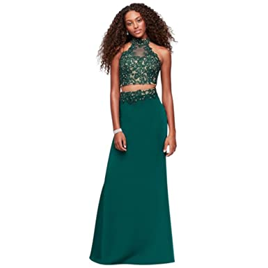 David\'s Bridal Corded Lace and Jersey Two-Piece Mermaid Prom Dress ...