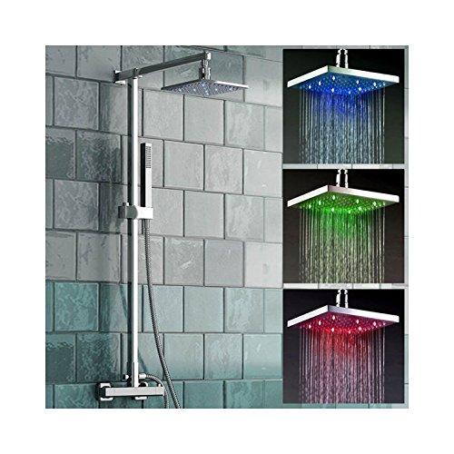 Soffione per doccia quadrato a LED, 3 colori, a seconda della temperatura Desineo