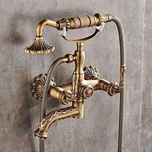ヨーロッパスタイルのバスルームのシンクの蛇口アンティーク銅シンプルシャワー浴槽の蛇口蛇口レトロウォールは、ホットとコールドのミキサーをハンドヘルド