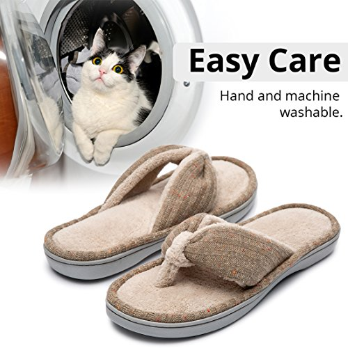 3900e65add0207 Women s Soft   Comfy Knitted Plush Fleece Lining Memory Foam Spa Thong Flip  Flops House Slippers