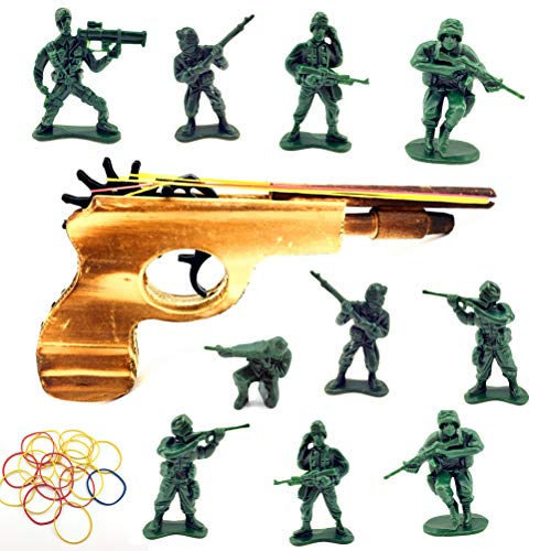 (Guaishou Rubber Band Shooter Gun Military Soldier Army Men Action Figures Accessories Play Set)