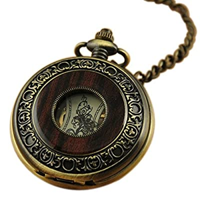 VIGOROSO Men's Vintage Wood Grain Hollow Selfwind Steampunk Chain Mechanical Pocket Watch Gift Box by VIGOROSO