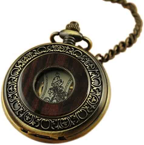 VIGOROSO Men's Vintage Wood Grain Hollow Selfwind Steampunk Chain Mechanical Pocket Watch Gift Box