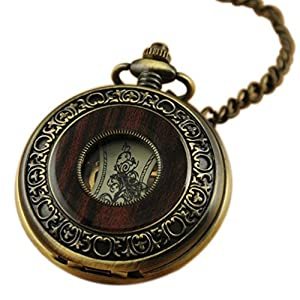 VIGOROSO Men's Hand-Wind Mechanical Pocket Watch Vintage Steampunk Wood Grain Hollow Design with Chain and Gift Box